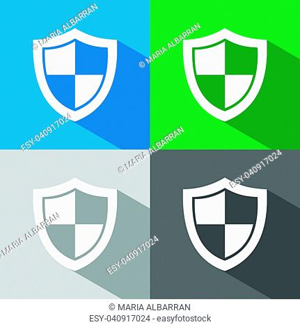 High security shield icon with shade on colored backgrounds