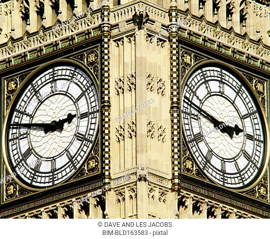 Close up of iconic Big Ben clock tower, London, Middlesex, United Kingdom