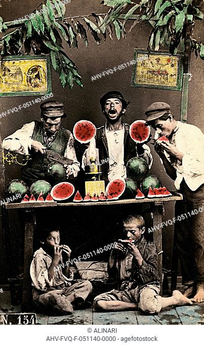 Naples. Watermelon sellers, shot 1865 ca. by Conrad, Giorgio