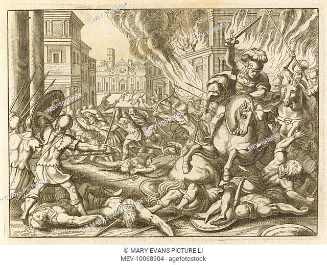 Zimri, royal chariot captain, kills king Elah and seizes the throne, but after 7 days he is besieged by Omri, and burns himself and his household in the royal...