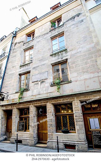Paris, France. House of Nicholas Flamel at No 51 Rue de Montmorency. Oldest stone house in Paris. Built 1407, now a restaurant