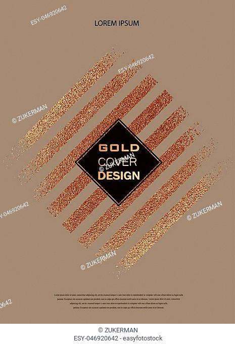 Grunge design. Copper glossy background. Metallic texture. Bronze metal. Trendy template for New Year, Wedding, Birthday, Flyers