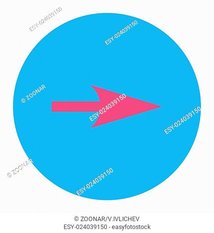 Arrow Axis X flat pink and blue colors round button