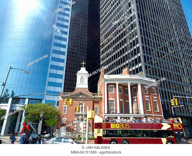 Old and New New York. Saint Elizabeth Ann Seton Shrine (centre) juxtaposing to #17 State Street office tower designed by Architect Roy Gee for Emery Roth & Sons...