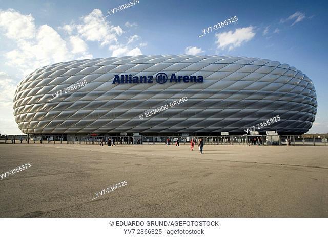 Allianz Arena stadium, also called München Arena, an amazing arquitecture where plays Bayern of Munich. Munich, Bavaria, Germany, Europe