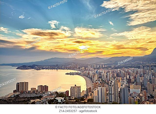 Aerial view of the beaches and the skyline by sunset. Benidorm. Alicante. Valencia Community. Spain
