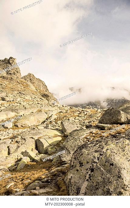Rock formation on mountain, Austrian Alps, Zirmsee, Carinthia, Austria