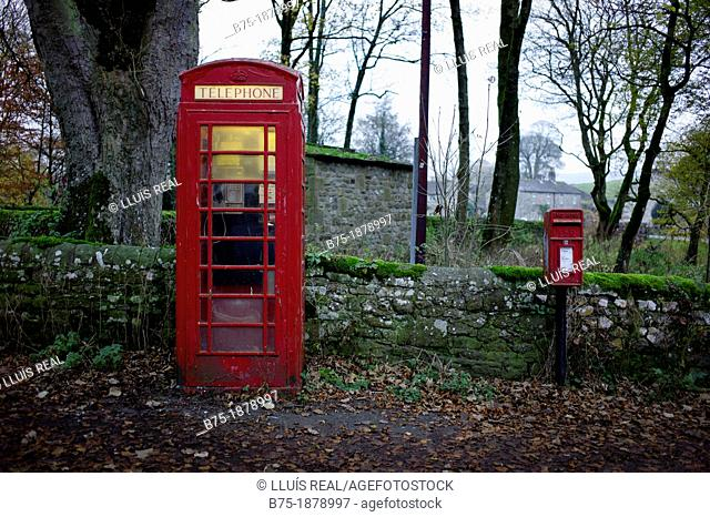UK, Yorkshire, Linton, phone box and post box