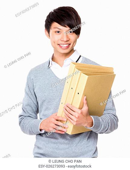 Businessman hold with folder