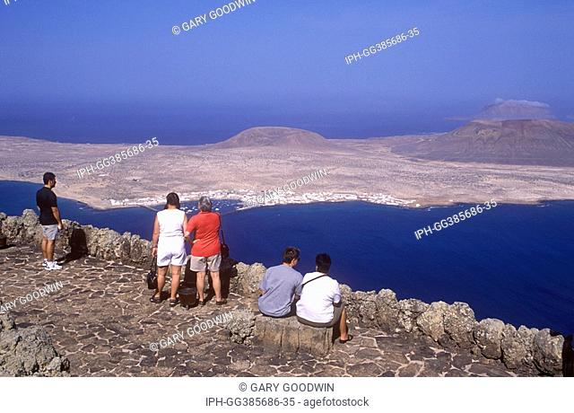 View from Mirador del Rio of Isla Graciosa at the northern most point of Lanzarote