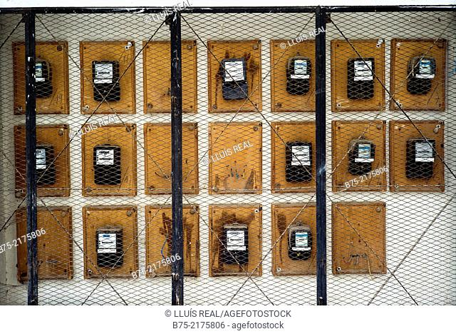 Electrical Panel counters viewed from behind a grate in the Medina of Fez, Morocco, Africa