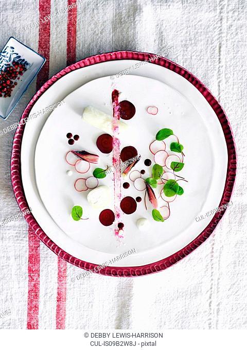 Delicate nouvelle cuisine dish