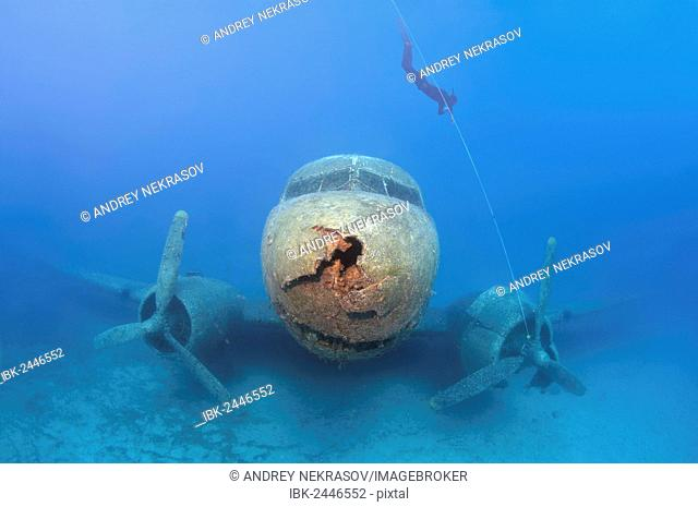 Freediver at plane wreck Douglas DC-3 Dakota, Mediterranean Sea, Kas, Kas, Turkey