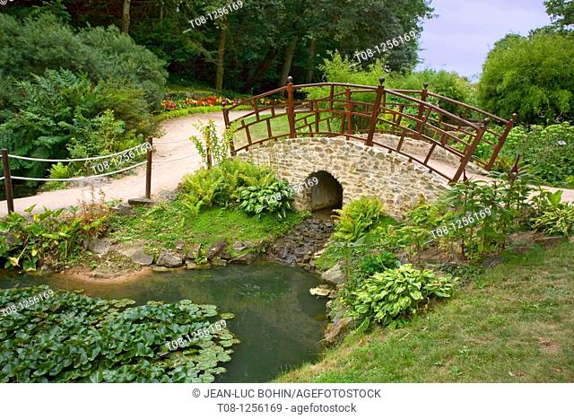 France, 85, Poitevin, garden bridge over the pond