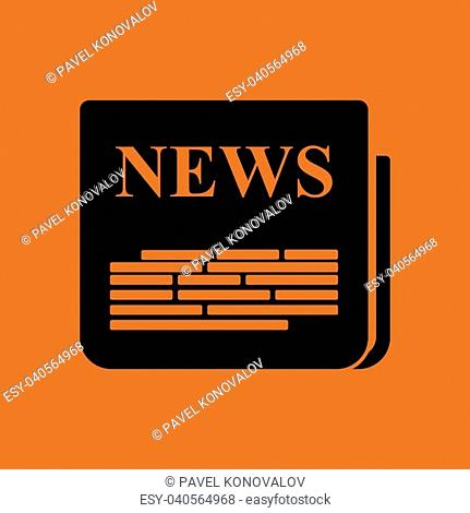Newspaper icon. Orange background with black. Vector illustration