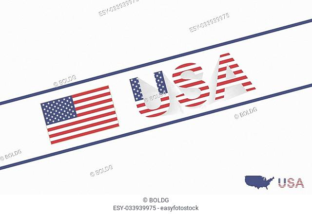 USA map flag and text illustration, on world map