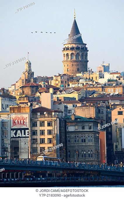 The Galata Bridge and the Galata Tower (1384) in background. Golden Horn. Istanbul. Turkey