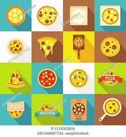 Pizza icons set food. Flat illustration of 16 pizza vector icons for web