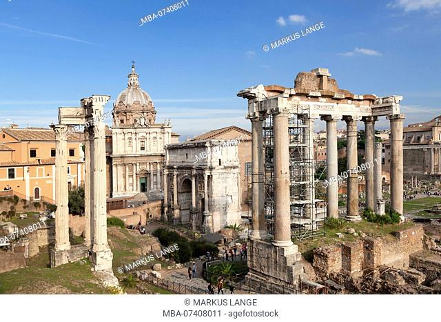 Roman Forum with Saturn Temple and Severus Arch, Foro Romano, Rome, Lazio, Italy