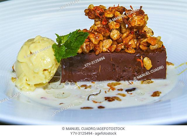 Postre de Trufa de chocolate con sopa de azafrán (Chocolate truffle with saffron soup). Restaurante de la bodega-museo Dinastía Vivanco en Briones, La Rioja