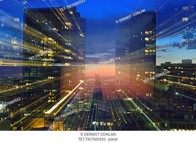 USA, Boston, Massachusetts, Office buildings at dusk