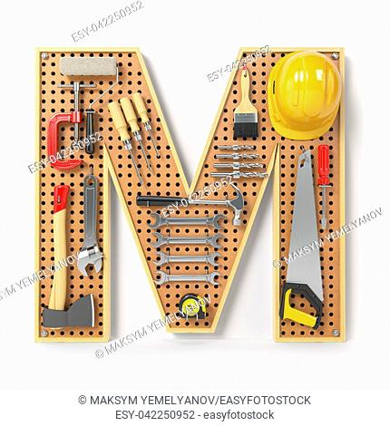 Letter M. Alphabet from the tools on the metal pegboard isolated on white. 3d illustration