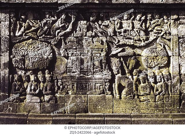 2nd Gallery east 126, long view. Borobudur, Indonesia