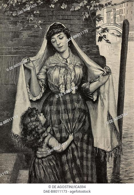 Waiting for the gondolier in Venice, mother and daughter, engraving from the drawing by C Vigor, The Illustrated London News, No 2720, June 6, 1891