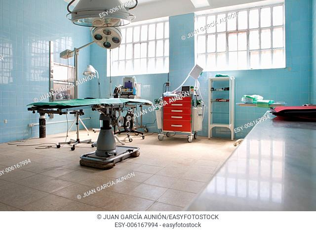 Empty operating-room of a bullring. Bullfighters used to be wounded by the bull so the surgical operation room belong the bullring facilities