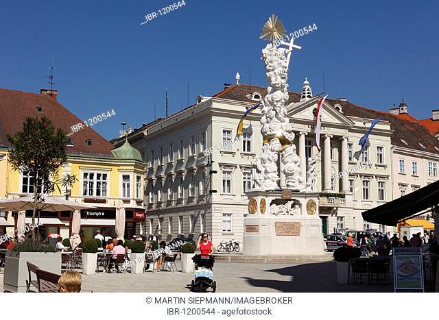 Holy Trinity column, Town Hall, Main Square, Baden near Vienna, Vienna Woods, Lower Austria, Austria, Europe