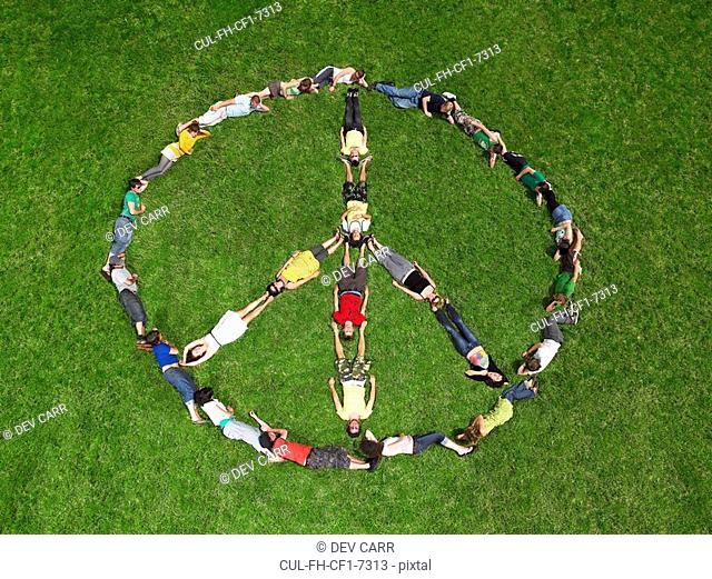 Group lying on grass in a peace sign formation