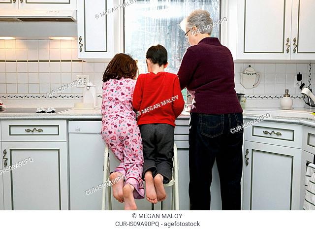 Grandmother with boy and girl in kitchen, rear view