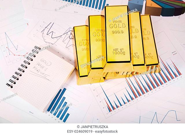 Gold bars and coins, ambient financial concept