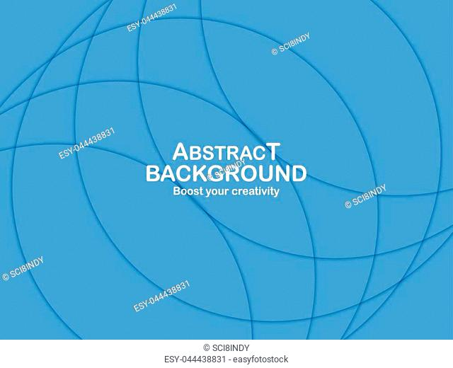Abstract blue curve background with copy space for white text. Modern template design for cover, brochure, web banner and magazine