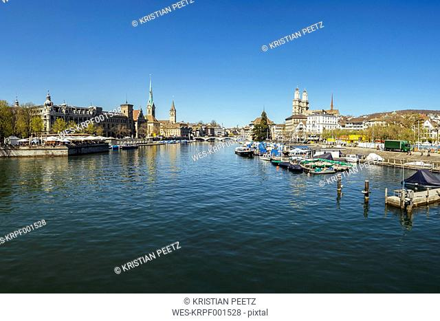 Switzerland, Zurich, Cityscape, View to Limmat river