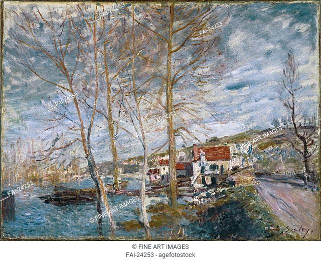Flood at Moret (Inondation à Moret). Sisley, Alfred (1839-1899). Oil on canvas. Impressionism. 1879. France. Brooklyn Museum, New York. 54x71,8