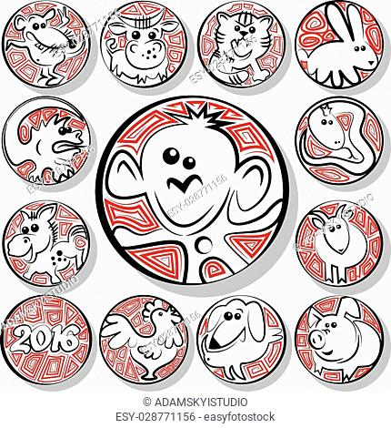 Icons Chinese zodiac signs in the form of coins.Vector illustration