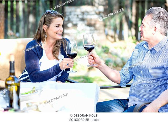 Mature couple making a red wine toast at garden table