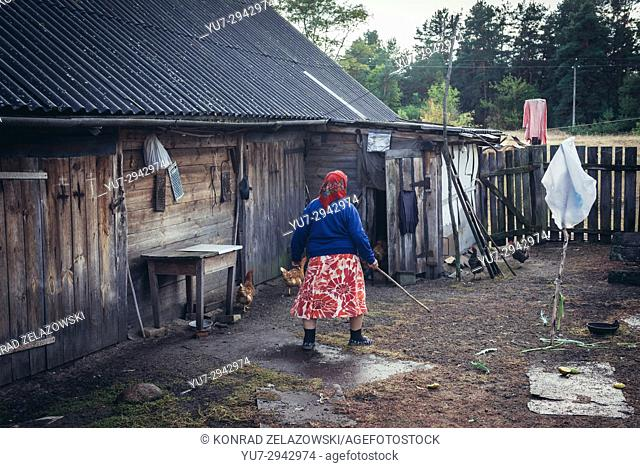 Woman who has returned to her farm (so called Samosely) in Kupuvate village after Chernobyl accident and lives in Zone of Alienation, Ukraine