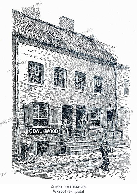 A tenement house on Hamilton Street in New York City that was known as The Ship - a narrow entrance to the rear leading to the garret rooms