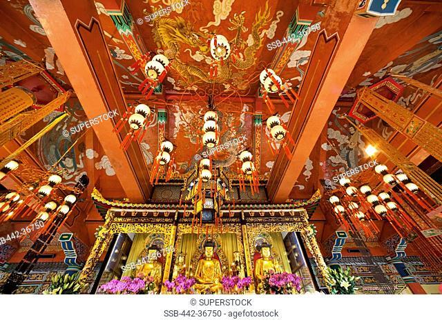 Interiors of a monastery, Po Lin Monastery, Ngong Ping, Lantau, Hong Kong, China