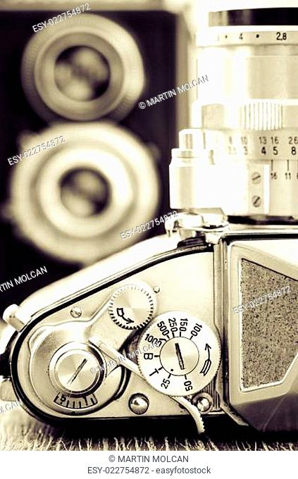 Detail view of classic camera dials with nice bokeh background