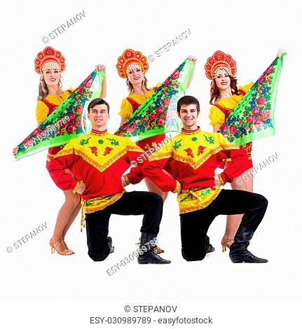 ebd477798 Dancer team wearing a folk costumes dancing. Isolated on white background  in full length