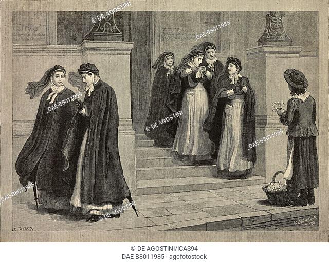 A constitutional after night nursing, engraving after a drawing by White, from The Illustrated London News, volume 97, No 2695, December 13, 1890