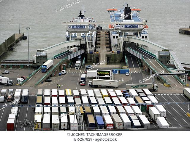 Parked trucks and ferry, ferry terminal Dover, Great Britain