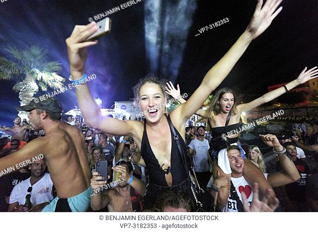 party people crowd at music festival Starbeach Chersonissos, Crete, Greece, 10. August 2018