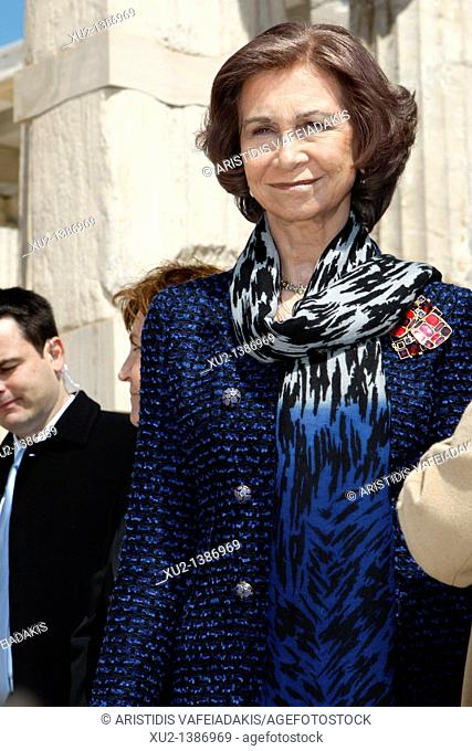 Queen Sofia of Spain visits Acropolis hill