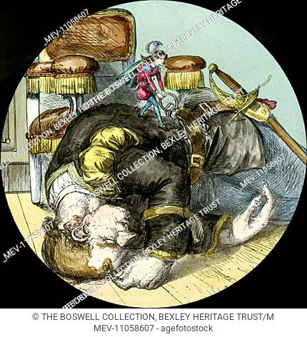 (Jack)taking the keys - Giant sleeping , Jack tugging at keys. Part of Box 52 Boswell collection. Nursery Rhymes