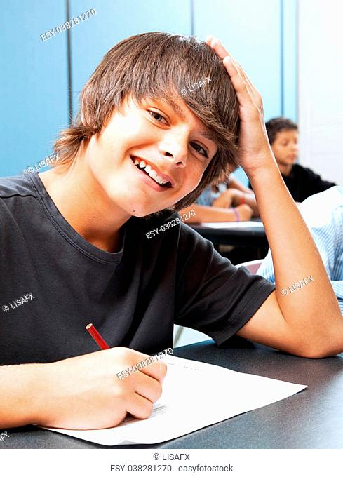 Friendly, smiling adolescent boy in school classroom