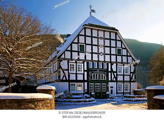 Half-timbered house in Saalhausen, Lennestadt, Sauerland, North Rhine-Westphalia, Germany